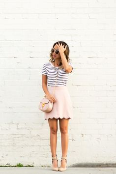 petite fashion blog, lace and locks, los angeles fashion blogger, scallop mini skirt, pink mini skirt, chloe mini drew, cute stripe outfit, spring fashion, blush outfit