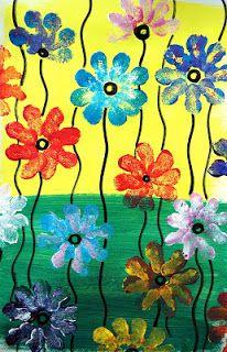 Le printemps ne voulant pas montrer son nez dans nos jardins, les élèves le peignent dans la classe...  Idée trouvée sur Pinterest ICI .   ...