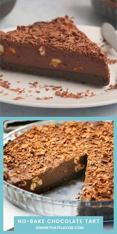 This delicious no-bake chocolate tart is made with an oreo cookie crust and a rich chocolate ganache filling. Chocolate Ganache Filling, Chocolate Crunch, Chocolate Torte, Holiday Desserts, Holiday Baking, Just Desserts, No Bake Nutella Cheesecake, Nutella Cake, Best Dessert Recipes
