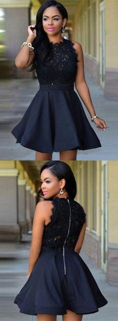 little black dress, 2017 short black homecoming dress, black lace homecoming dress party dress