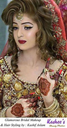 Kashee's Bridal Make Beauty parlor Kashee's mehndi experts. Latest Bridal Makeup by Kashee's Beauty Parlour Latest Bridal Mehndi And Hairstyling By Bridal Makeup Tips, Bridal Makeup Looks, Indian Bridal Makeup, Bride Makeup, Wedding Makeup, Hair Makeup, Bridal Beauty, Beauty Makeup, Kashees Hairstyle