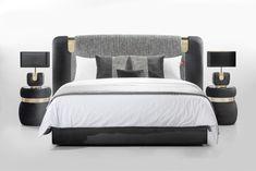 Discover Allure upholstered headboard by Colunex. Bed Frame Design, Bed Design, Floating Bed, Hotel Room Design, Headboard Designs, Sofa Furniture, House Furniture, Luxury Furniture, Furniture Design
