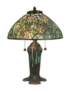 Dale Tiffany TT90429 Victorian 2 Light Tiffany Table Lamp with Art Glass Shade Antique Bronze Verde Green Lamps Table Lamps