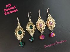 Beaded Netted Necklace Tutorial With Bicone – Crystal Necklace Making – Schmuck Diy Jewelry Necklace, Seed Bead Earrings, Beaded Earrings, Wire Jewelry, Beaded Jewelry, Handmade Jewelry, Beaded Bracelets, Jewelry Party, Feather Earrings