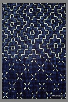 Sashiko Kimono. Period: Meiji period (1868–1912). Date: mid-19th century. Culture: Japan. Medium: Indigo-dyed plain-weave cotton, quilted and embroidered with white cotton thread. Dimensions: Overall: 55 1/2 x 45 in. (141 x 114.3 cm).