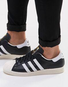 new arrival 7a391 63a83 Lækre adidas Originals Superstar 80 s Trainers G61069 - Black adidas  Originals Løbesko til Herrer i behageligt