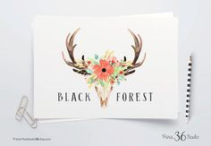 Instant Download Logo Rustic Watercolor Logo Floral Logo Antler Logo Design Photoshop