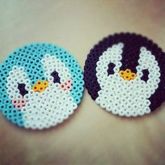 perler hama beads penguin or bird Melty Bead Patterns, Pearler Bead Patterns, Perler Patterns, Beading Patterns, Hama Beads Coasters, Diy Perler Beads, Perler Bead Art, Hama Coaster, Hama Beads Kawaii