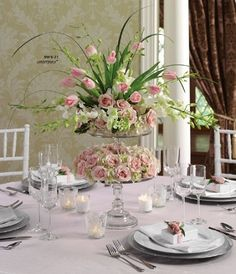 Lovely double floral arrangement on cake stands