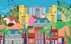 #illustration #illustrator #cityscape #citylife City Life, Illustrator, Branding Design, Tropical, Graphic Design, Corporate Design, Identity Branding, Illustrators, Visual Communication