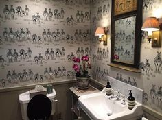 We are mega fans of this beautiful bathroom decorated in our Dazzle wallpaper #zebra #wallpaper #bathroom #inspiration #interiordesign #zebrawallpaper #design #interiors #home
