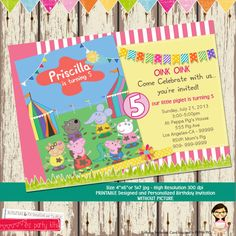 Peppa Pig Invitation Card - Printable with Picture - by EZ Party Kits 3rd Birthday Parties, Birthday Ideas, 2nd Birthday, Peppa Pig Birthday Invitations, Peppa Pig World, Peppa Pig Teddy, Aniversario Peppa Pig, Pig Party, Invitation Cards