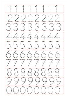 Trace the Dotted Lines Worksheets for Kids - Preschool and Kindergarten Preschool Writing, Numbers Preschool, Preschool Learning Activities, Kids Learning, Learning Numbers, Letter Tracing Worksheets, Printable Preschool Worksheets, Kindergarten Math Worksheets, Tracing Letters