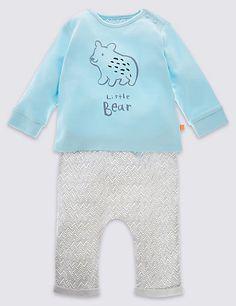 2 Piece Unisex Bear T-Shirt & Joggers Outfit | M&S