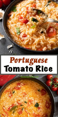 An authentic rice dish from Portugal that you can easily make at home! Portuguese Tomato Rice (Arroz de Tomate) is a flavorsome side dish that you can serve with meat, fish, or seafood. Its ready in 30 minutes! Side Dishes For Fish, Rice Side Dishes, Side Dishes Easy, Side Dish Recipes, Veggie Recipes, Food Dishes, Mexican Food Recipes, Vegetarian Recipes, Dinner Recipes
