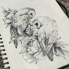 e 交 tatouage oiseau oiseau hibou chouette hibou couple floral - art . Owl Tattoo Drawings, Bird Drawings, Tattoo Sketches, Animal Drawings, Drawing Sketches, Tattoo Owl, People Drawings, Pencil Drawings, Easy Drawings