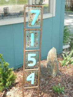 Fused Glass Address Stake  Interested in different colors or prices? Find out on Facebook by clicking this image!