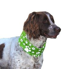 GREEN RUFFNEK Scarf/bandana for dogs - REFLECTIVE PAW PRINT - BE SAFE BE SEEN! >>> Learn more by visiting the image link.