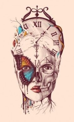 fantasy surrealism woman butterfly time clock design illustration
