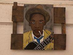 robert johnson - Dalton Art Robert Johnson, Delta Blues, Blues Artists, Guitar Art, Blues Music, Blue Art, Recycled Art, Outsider Art, Illustrations And Posters