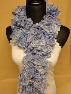 Pastel Blue Ruffle Scarf - Ladies Blue Ruffle Scarf - Crocheted Scarf - Ladies Ruffle Scarf by HappyNanaba, $9.00 USD