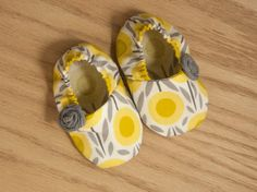 baby girl booties, baby soft sole shoes, baby clothes girl, modern baby clothes, yellow/grey rosette booties on Etsy, $12.50