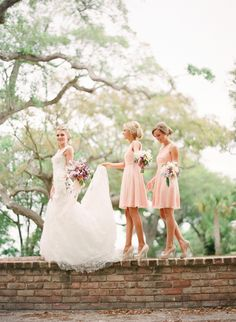 love these blush bridesmaid dresses + nude pumps