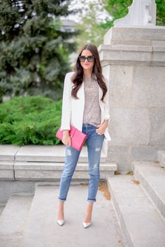Fashion Blogger Rachel Is Wearing White Blazer From Theory, Sequin Top From All Saints, Distressed Jeans From Current/Elliott Shoes From J. ...