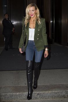 Katie Cassidy out and about in New York Black High Boots, Leather High Heel Boots, Thigh High Boots Heels, Stiletto Boots, Ladies Knee High Boots, Fall Fashion Outfits, Trendy Outfits, Celebrity Boots, Sexy Boots