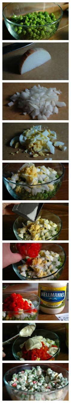 Pea Salad - Recipe by Photo  The full details are available on the website.  Best pea salad ever.