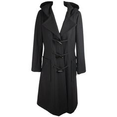 Preowned Chanel Vintage Black Wool Hooded Duffle Coat Size 42 (£1,700) ❤ liked on Polyvore featuring outerwear, coats, black, chanel coat, duffle coat, wool coat, woolen coat and toggle button coat