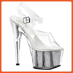 d05c74072a83 7 Inch Sexy High Heel Shoes Glitter Filled Ankle Strap Platform Sandal  Size  6 -