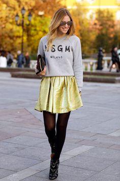 Metallic skirt + sweatshirt