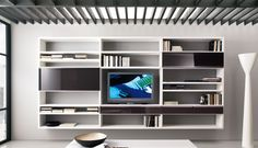 20 Contemporary Living Area Wall Units for Book Storage from Misuraemme : 20 Modern Living Room Wall Units With White Grey Wall Wooden Books...