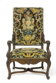 Fauteuil (Chair), France, early 18thC Louis XIV, carved walnut, beech brace, Savonnerie tapestry. Les Arts Decoratifs