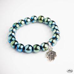 posrebrzana zawieszka Hamsa, Turquoise Bracelet, Beaded Bracelets, Jewelry, Jewlery, Bijoux, Pearl Bracelets, Schmuck, Jewerly