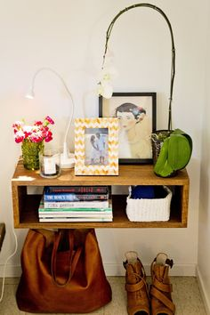 Floating bedside table--Hope and Pete's Bohemian Modern Abode