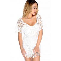 Sexy White Floral Lace Crochet Bodycon Dress