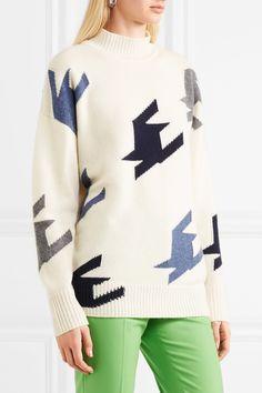 Victoria Beckham | Houndstooth intarsia cashmere sweater | NET-A-PORTER.COM