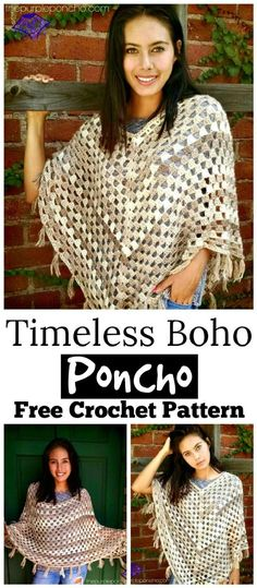 This Timeless Boho Poncho free crochet pattern is so pretty and is a great addition to your wardrobe. It is rated as an easy design and is good for beginners.