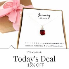 Today Only! 15% OFF this item.  Follow us on Pinterest to be the first to see our exciting Daily Deals. Today's Product: Garnet Necklace - January Birthstone - Dainty Drop Necklace - Sterling Silver Necklace - Gemstone Briolette Necklace - Gift for Her Buy now: https://www.etsy.com/listing/477255420?utm_source=Pinterest&utm_medium=Orangetwig_Marketing&utm_campaign=Daily%20Deal   #etsy #etsyseller #etsyshop #etsylove #etsyfinds #etsygifts #musthave #loveit #instacool #shop #shopping…