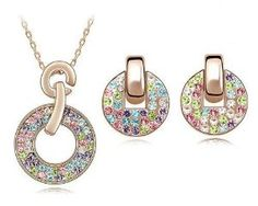 18K Rose Gold Plated Alloy Earrings & Necklace with Swarovski Elements Multicolored Crystal Women's Fashion Party Jewelry Set.