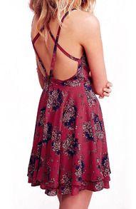 Red Spaghetti Strap Florals Chiffon Dress   14$