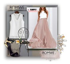 """""""FG1636"""" by axenta ❤ liked on Polyvore featuring Osborne & Little, Giuseppe Zanotti, skirt, romwe, top and earrings"""