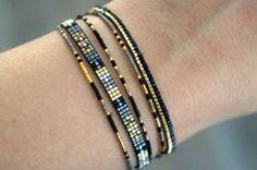Set of 5 Miyuki beaded bracelets handmade - Gold plated lobster clasp