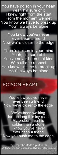 Depeche Mode - Poison Heart lyric #DepecheMode #Poison_Heart #Spirit #music