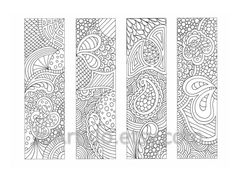 PDF Coloring Page Bookmarks Zendoodle / Zentangle от JoArtyJo