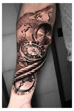 Unique Half Sleeve Tattoos, Hand Tattoos For Guys, Sleeve Tattoos For Women, Skull Hand Tattoo, Skull Sleeve Tattoos, Clock Tattoo Sleeve, Clock Tattoos, Tattoo Homme, Clock Tattoo Design