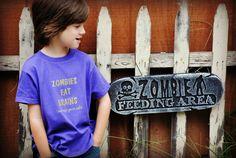 Zombies eat brains kids tshirt by Onceuponastory on Etsy, $15.00