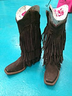 Finally! Square Toe Fringe Boot By Tanner Mark | Genuine hand made leather fringe boot  Color- mocha | Rhinestone Cowgirl - Montgomery, TX